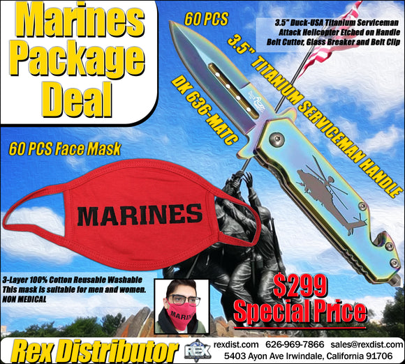 Package Deal #114-  Red Serviceman Face Mask & Knife Package Deal | Free Shipping