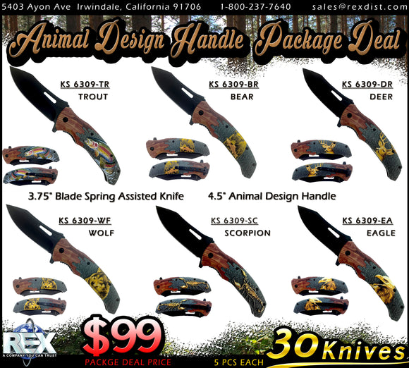 Package Deal #91 - Animal Design Handle Package | 30 Knives for only $99