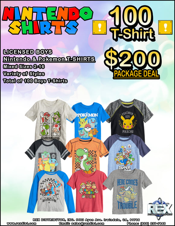Package Deal #95 - Boys Nintendo & Pokemon T-Shirts Package Deal