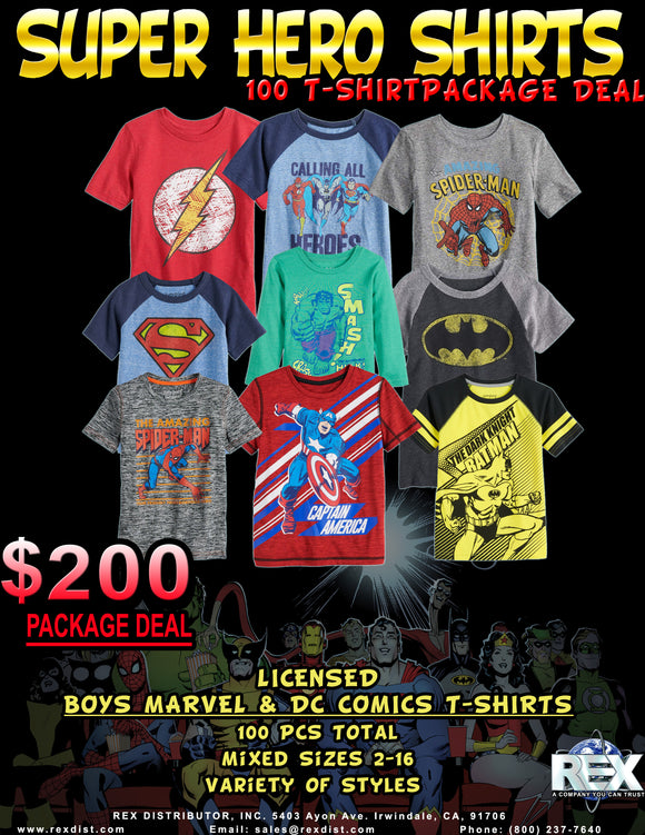 Package Deal #94 - Licensed Boys Super Heroes T-Shirts Package Deal