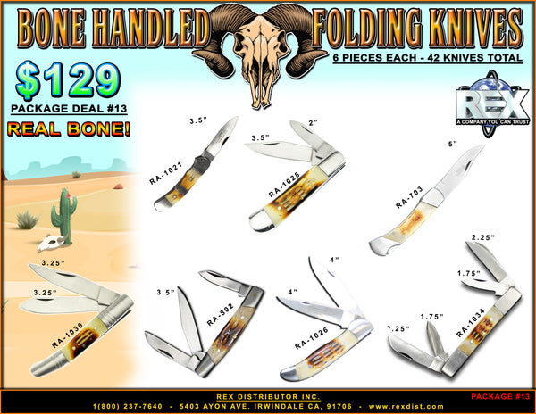 Package Deal #13 - Bone Handle Folding Knives Package Deal - Free Shipping