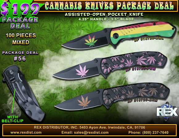 Package Deal #56 - Cannabis Themed Folding Knives