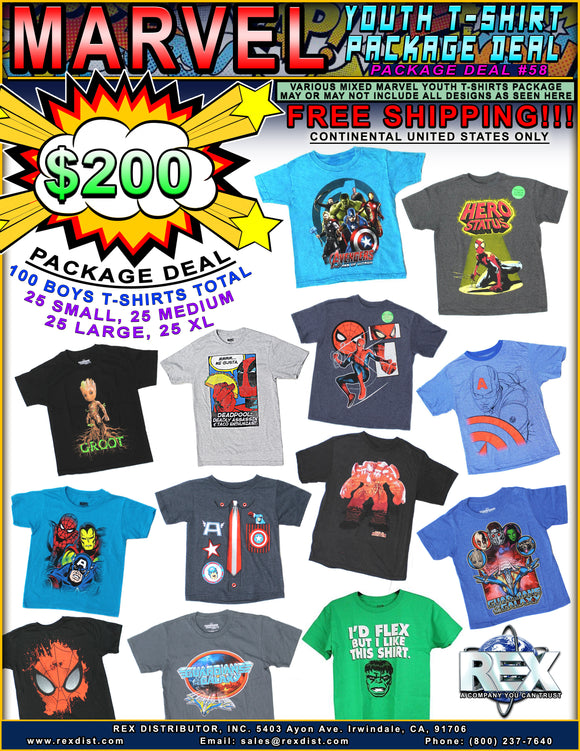 Package Deal #58 Mixed Marvel Youth T-Shirts 100 Pieces