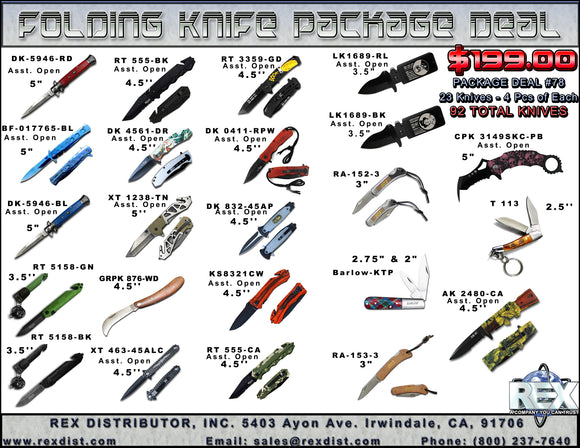 Package Deal #78 - 92 knives for $199.00 - Folding Knife Package Deal