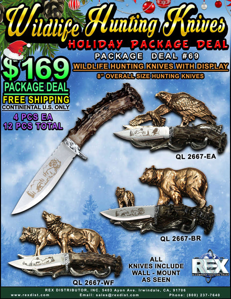 "Package Deal #69 - 8"" Wildlife Hunting Knives w/ Display"