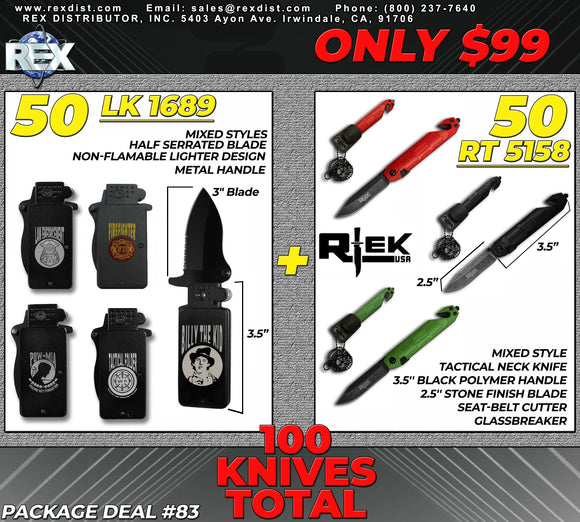 Package Deal #83 $99 100 Knives Package Deal