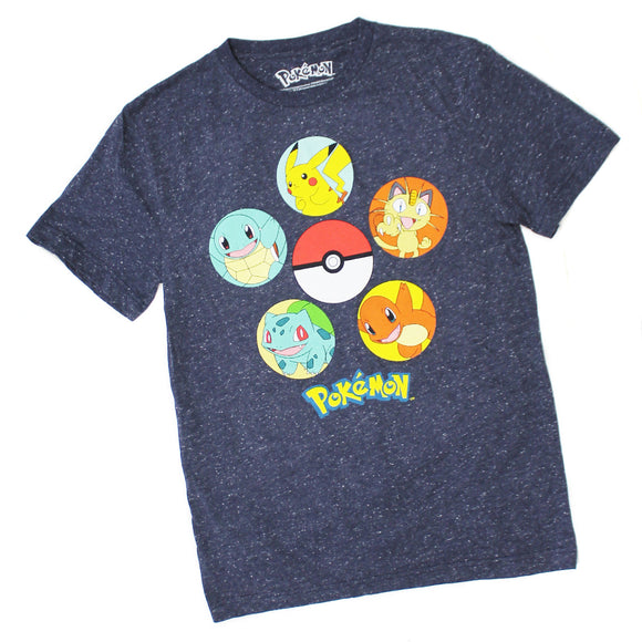 Pokemon Pokeball Characters Pikachu Charizard Blue Speckle Mens Tee T Shirt