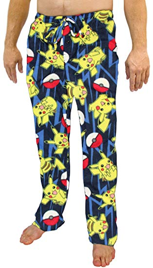 Mens Pokemon Pikachu AOP Micro Fleece Lounge Pants Pajama Bottoms