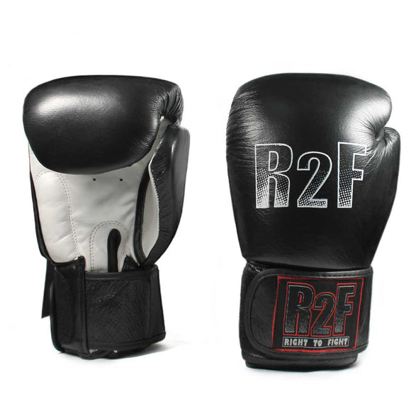 R2F-10ozBK All leather boxing gloves with wrist support
