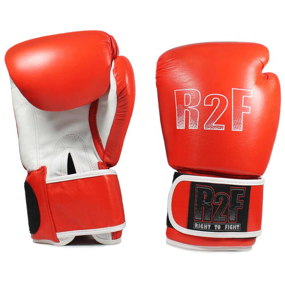R2F-10ozRD All leather boxing gloves with wrist support