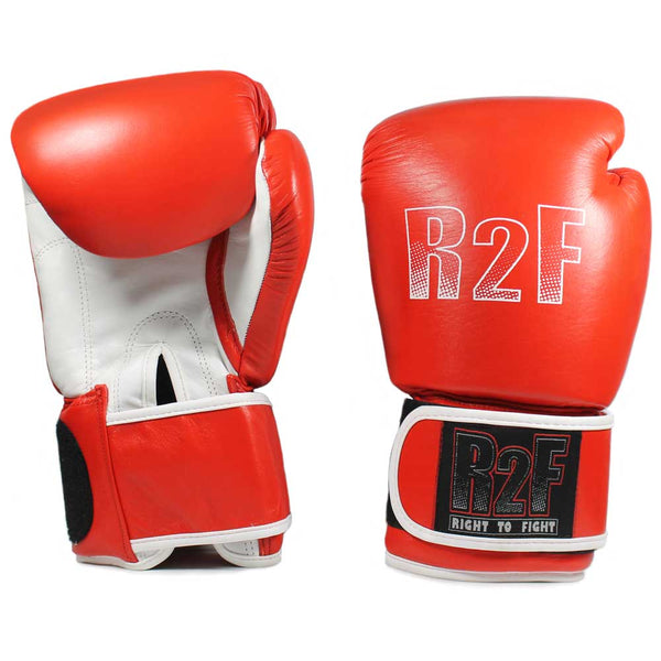 R2F-12ozRD All leather boxing gloves with wrist support