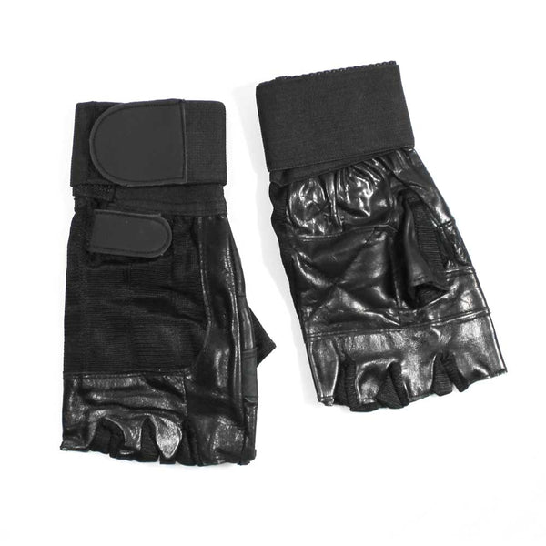 REX 389 Leather finger-less weight lifting gloves