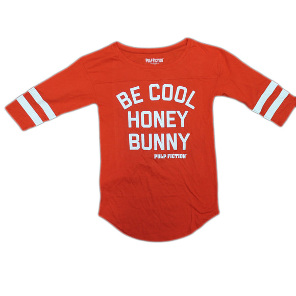 Womens Red Be Cool Honey Bunny Pulp Fiction Movie Baseball Style Raglan Tee T-Shirt