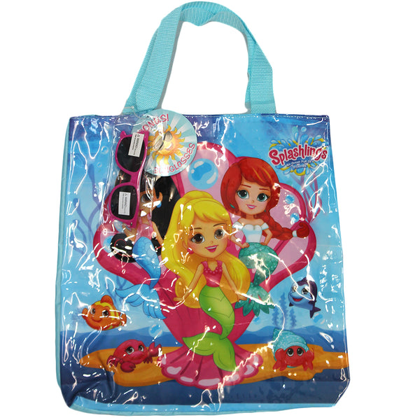 Splashlings Mermaid Blue Clear Large Tote Bag Gift with Sunglasses