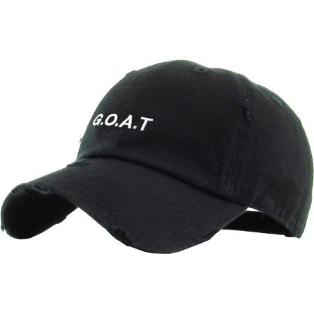 Adult Goat Embroidery Vintage Distressed Cotton Adjustable Baseball Cap
