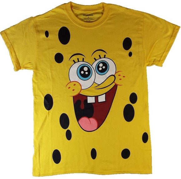 Mens Nickelodeon SpongeBob SquarePants Face Yellow Tee T Shirt