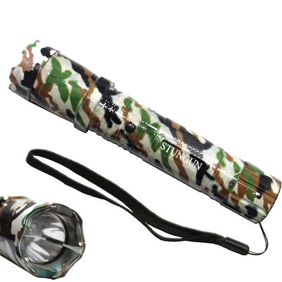 SD 168-WHGN White Green Camo 4 Million Volt Stun Gun LED Flashlight