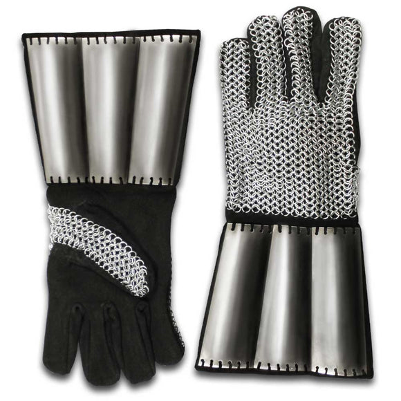 SE 70039 - Medieval chainmail gauntlets with metal plates