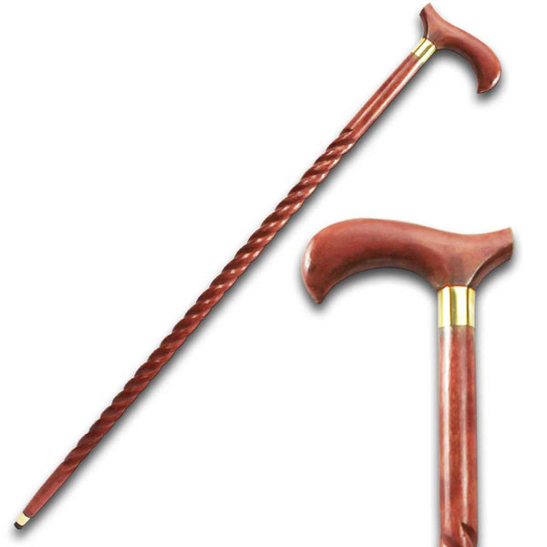 "SE 7066 36.5"" Curved Handle Brown Wood Eucalyptus Wood Walking Stick Cane"