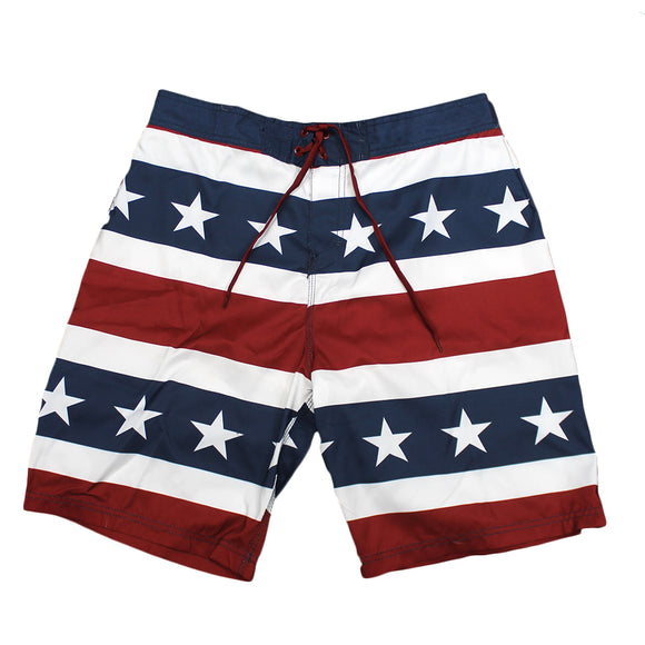 Mens Red White & Blue Stars and Stripes Board Shorts