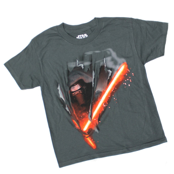 Youth Star Wars Kylo Ren Light Saber Cutting Shirt Grey Boys Tee T Shirt