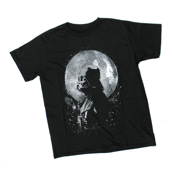 Youth Star Wars Darth Vader Profile Death Star Moon Black Boys Tee T Shirt