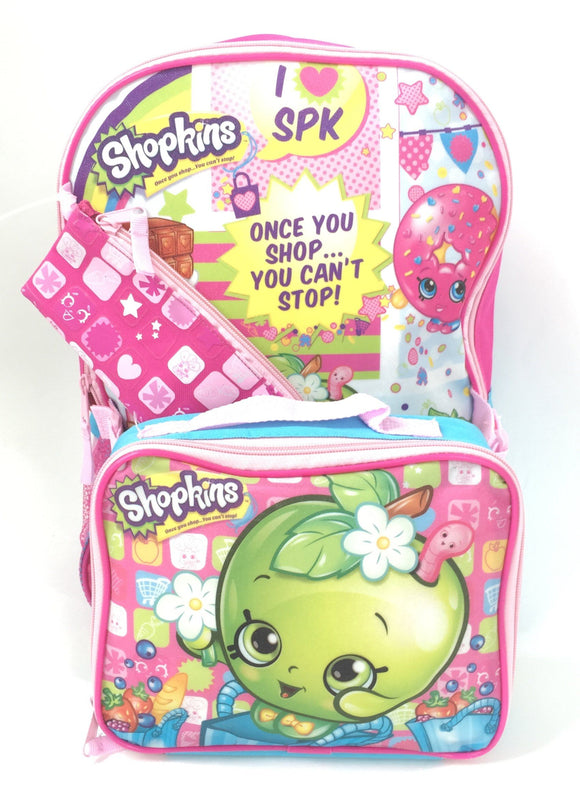 Shopkins Apple Blossom  Youth Pink Backpack with Lunchbox