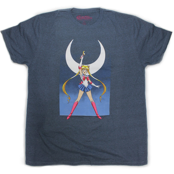 Mens Sailor Moon Anime Blue Heather Tee T Shirt