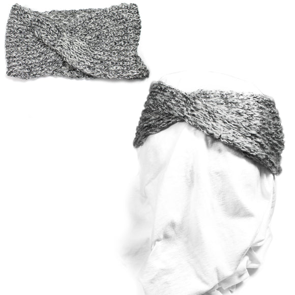 Silver Shiny Knit Headband Women Ear Warmers Crochet Head wrap