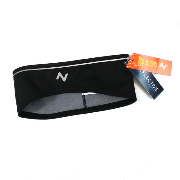 Adult Reflective Warmth Sports Lightweight running Headband Black