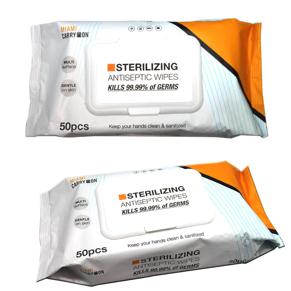 Sterilizing Antiseptic Wipes (50-Pack) Kills 99.99% of Germs