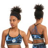 Womens Juniors Supernatural Blue Marble Print Low-Impact Sports Bra Top Strappy Back