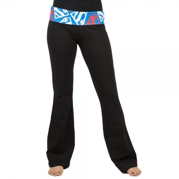 Womens Juniors Color Superman Logo Fold Yoga Pants