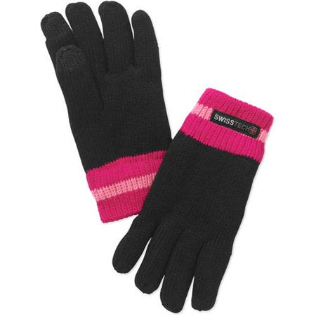 Kids Youth Swiss Tech Black & Pink Knit Mitten Winter Gloves with Texting