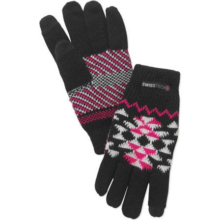 Kids Youth Swiss Tech Black Knit Mitten Winter Gloves with Texting