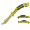 "T 27021-GD 9 5/8"" Gold Spring Assisted Folding Knife w/ Curved Handle"