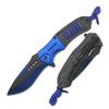 "T27166-BL 8"" Blue Spring Assist Black Stainless Blade 3mm Thickness"