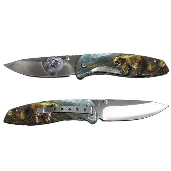 "T 272139-BR 8"" Bear 3D Textured Handle Stainless Steel Folding Knife Bear Blade"