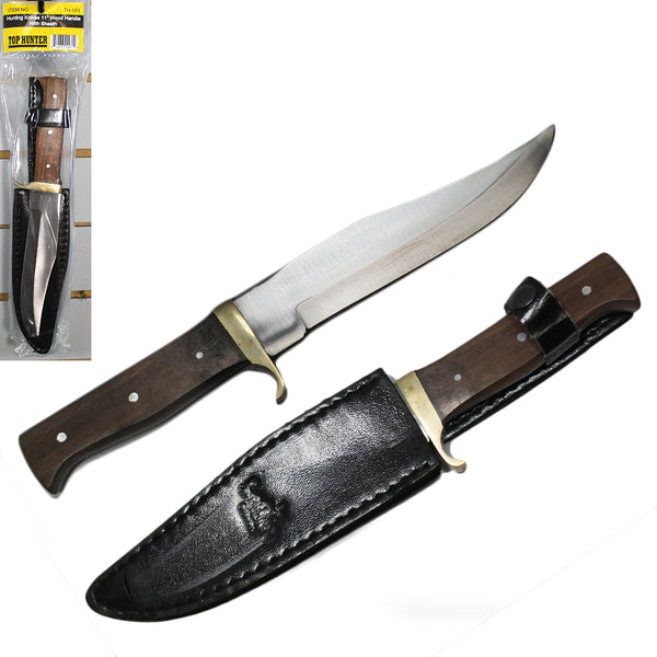 "TH 121 11"" Wood Handle Hunting Knife with Sheath Display Blister Hanging Packaging"