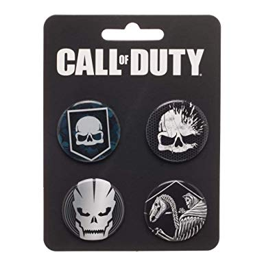 Collectors 4 Button Set Call Of Duty Skull Video Game