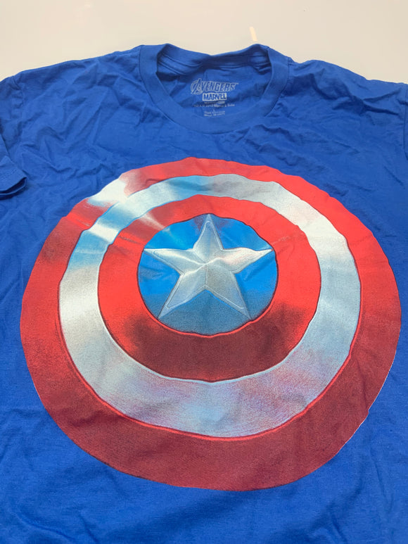 Mens Blue Captain America Avengers Shield Tee T-Shirt