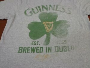 Mens Gray Beer Guinness Dublin Ireland Clover Tee T-Shirt