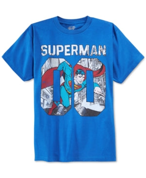 Boys Youth Blue Superman Graphic T-Shirt Tee