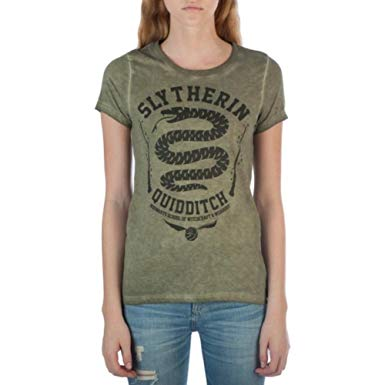 Women Juniors Faded Green Slytherin Harry Potter Tee T Shirt