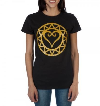 Womens Juniors Black Gold Kingdom Hearts Disney Video Game Tee T shirt