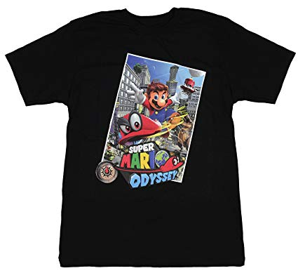 Mens Black Super Mario Odyssey Nintendo Video Game Cappy Tee T Shirt
