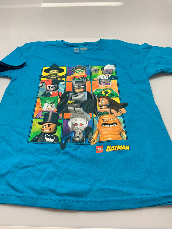 Boys Youth Blue Lego Batman Movie Characters Tee T-Shirt