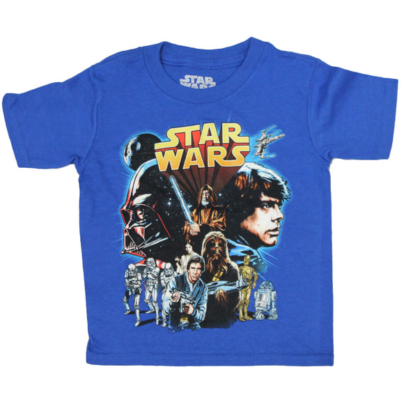 Boys Toddlers Blue Star Wars Retro Graphic Tee T-Shirt