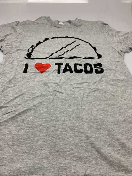 Mens Gray Heather I Love Tacos Tee T-Shirt