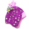 Girls Youth Silver Stars Purple Ski Beanie Winter Cap
